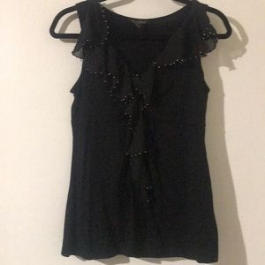 Ruffled Black Tank Top